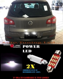 VW TIGUAN 5N 07-10 LUCI TARGA 12 LED SMD BIANCO ALTA QUALITA' 36MM NO ERRORE