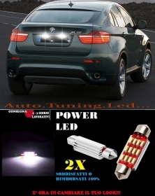 BMW X6 E71 LUCI TARGA 12 LED SMD BIANCO ALTA QUALITA' 36MM NO ERRORE
