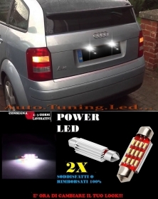 AUDI A2 LUCI TARGA 12 LED SMD BIANCO ALTA QUALITA' 36MM NO ERRORE