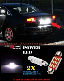 AUDI A8 LUCI TARGA 12 LED SMD BIANCO ALTA QUALITA' 36MM NO ERRORE