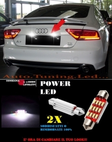 AUDI A7 10-14 LUCI TARGA 12 LED SMD BIANCO ALTA QUALITA' 36MM NO ERRORE