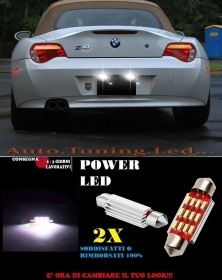 BMW Z4 LUCI TARGA 12 LED SMD BIANCO ALTA QUALITA' 36MM NO ERRORE