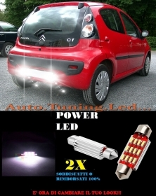CITROEN C1 2005+ LUCI TARGA 12 LED SMD BIANCO ALTA QUALITA' 36MM NO ERRORE