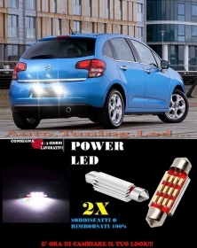 CITROEN C3 2012+ LUCI TARGA 12 LED SMD BIANCO ALTA QUALITA' 36MM NO ERRORE
