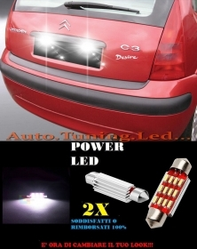 CITROEN C3 LUCI TARGA 12 LED SMD BIANCO ALTA QUALITA' 36MM NO ERRORE