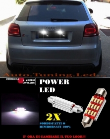 AUDI A3 S3 RS3 8P 03-08 LUCI TARGA 12 LED SMD BIANCO ALTA QUALITA' 36MM NO ERROR