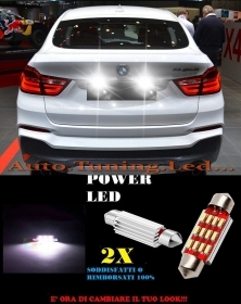 BMW X4 2013+ LUCI TARGA 12 LED SMD BIANCO ALTA QUALITA' 36MM NO ERRORE